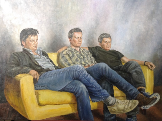 Group Portrait Painting Brothers - Woking Art Society Portrait Artist Ian Henderson
