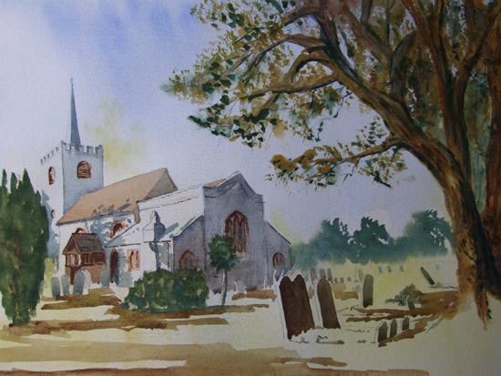 Pirbright Church- Painting - Surrey Art Gallery