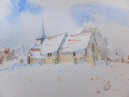 Pyrford - St Nicholas Church Surrey Art -Snow