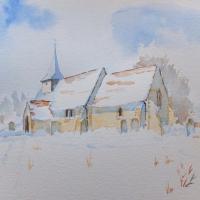 Pyrford – St Nicholas Church Surrey Art -Snow