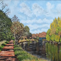 River Thames Painting – Towards Weybridge