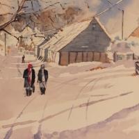 Wanborough Barn near Farnham Surrey – Painting in Surrey Scenes Gallery
