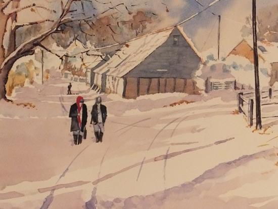 Wanborough Barn near Farnham - Painting in Surrey Scenes Gallery