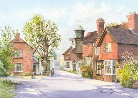 Abinger Hammer - English Village - Watercolour Artist David Drury