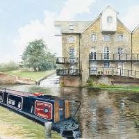 Addlestone Surrey – Coxes Lock – Watercolour Painting – David Drury