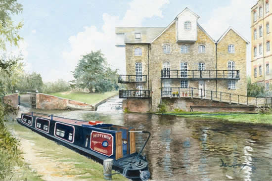 Addlestone Surrey - Coxes Lock - Watercolour Painting - David Drury
