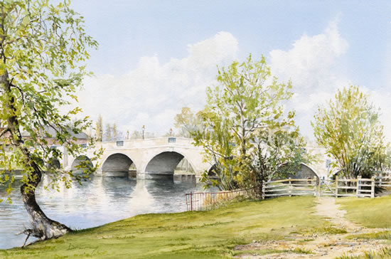 Chertsey Bridge River Thames Landscape Watercolour Painting - Surrey Art Gallery