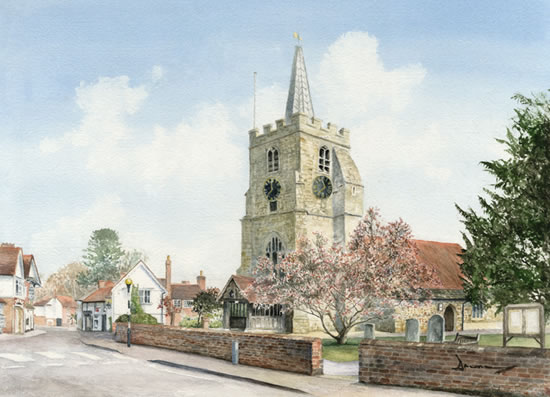 Chobham Church Art - Painting of Church of St Lawrence