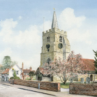 Chobham Church – Painting of Church of St Lawrence -Surrey Art Gallery