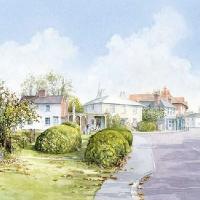 Chobham Village Surrey – Woking Art Society member David Drury – Watercolour Artist