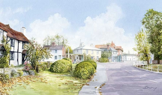 Chobham Village Surrey - Woking Art Society member David Drury - Watercolour Artist