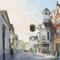 Guildford High Street – Watercolour Painting by Byfleet Art Group Artist David Drury