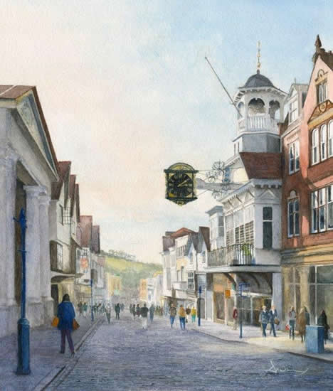 Guildford High Street - Watercolour Painting by Byfleet Art Group Artist David Drury