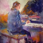Piano Practice – Music Art Gallery – Painting of Pianist Playing Grand Piano
