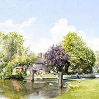 New Haw Lock – Wey Navigation Canal – Watercolour Artist David Drury