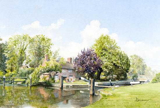 New Haw Lock - Wey Navigation - Watercolour Artist David Drury