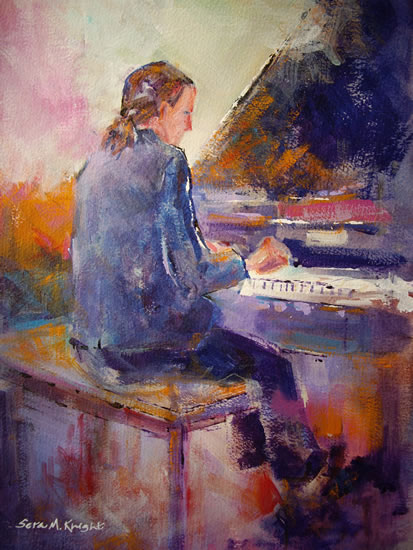Piano Practice - Music Art Gallery - Painting of Pianist Playing Grand Piano