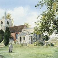 Pirbright Church – Watercolour by Woking Arts Society Artist David Drury