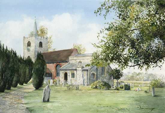 Pirbright Church - Watercolour by Woking Arts Society Artist David Drury
