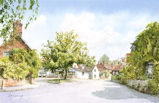 Shere Village Surrey England - Byfleet Art Society Watercolour Artist David Drury