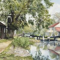 Thames Lock Weybridge – Pirbright Art Group member David Drury – Watercolour Artist