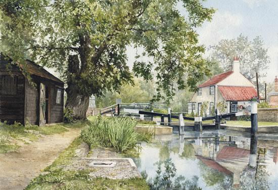 Thames Lock Weybridge - Pirbright Art Group member David Drury
