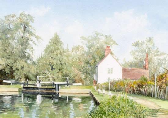 Triggs Lock House Send - Woking Arts Society Watercolour Artist David Drury