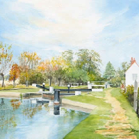 Triggs Lock River Wey Navigation Send – Surrey Scenes Art Gallery – David Drury