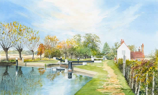 Triggs Lock River Wey Navigation Send - Surrey Scenes Art Gallery - David Drury