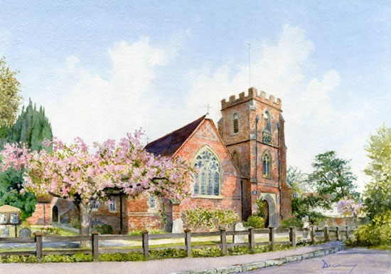 Windlesham Church - North Surrey Watercolour Artist David Drury