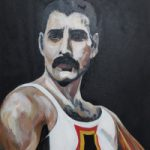 Freddie Mercury of Queen Painting – Woking Art Society member Yana Linch