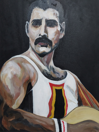 Freddie Mercury of Queen Painting - Woking Art Society member Yana Linch