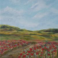 Poppy Fields – Ranmore Hills near Dorking Surrey – Guildford Art Society Artist Yana Linch