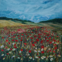 Ranmore Hills near Dorking – Poppy Field – Guildford Art Society Artist Yana Linch from Woking