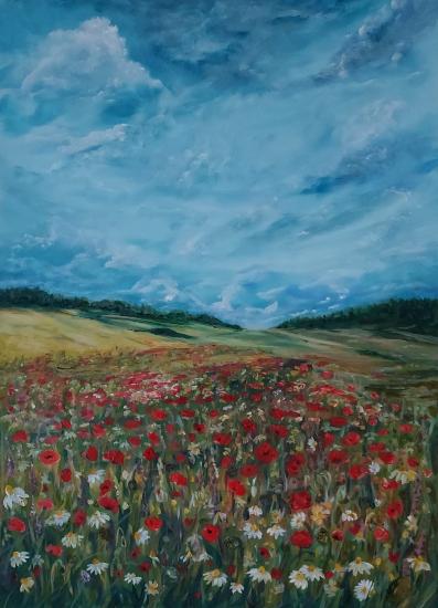 Ranmore Hills near Dorking - Poppy Field - Guildford Art Society Artist Yana Linch