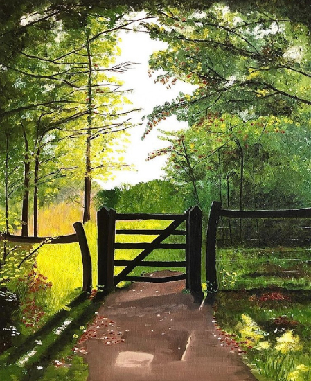 Boxhill Surrey - Gate to Meadow - Oil Painting - Maggie Jukes Art Gallery