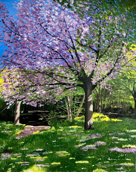 Cherry Tree in Full Bloom - Purley Surrey Artist Maggie Jukes - Surrey Art Gallery