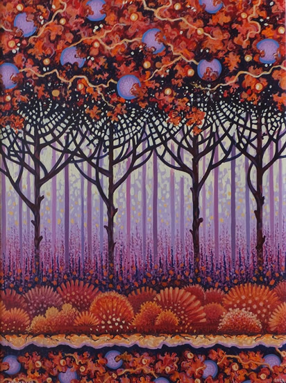 Contemporary Art - Autumn Forest - Fred Masters - Abstract Artist - Painting in Acrylic - Surrey Art Gallery