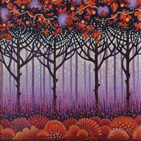 Contemporary Art – Autumn Forest – Fred Masters – Abstract Artist – Painting in Acrylic – Surrey Art Gallery