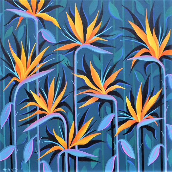 Contemporary Art - Bird Of Paradise Flowers - Fred Masters - Abstract Artist - Paintings in Acrylic and Oil - Surrey Art Gallery