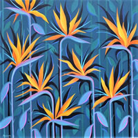 Contemporary Art – Bird Of Paradise Flowers – Fred Masters – Abstract Artist – Paintings in Acrylic and Oil – Surrey Art Gallery