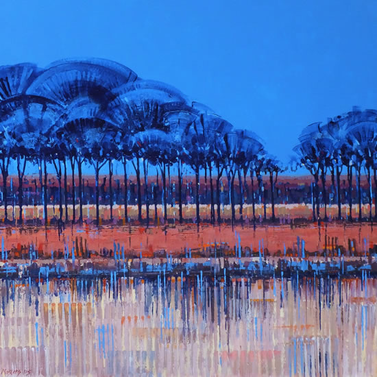 Contemporary Art - Blue Trees Reflecting On Water- Fred Masters - Abstract Artist - Painting in Acrylic - Surrey Art Gallery