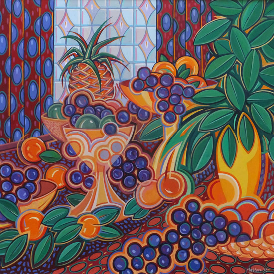 Contemporary Art - Pineapple and Fruit Still Life - Fred Masters - Abstract Artist - Painting in Acrylic - Surrey Art Gallery