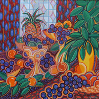 Contemporary Art – Pineapple and Fruit Still Life – Fred Masters – Abstract Artist – Painting in Acrylic – Surrey Art Gallery