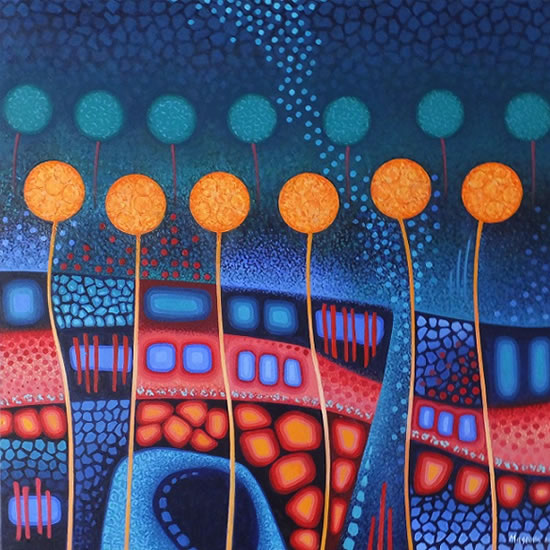 Contemporary Art - Garden - Fred Masters - Abstract Artist - Painting in Acrylic - Surrey Art Gallery