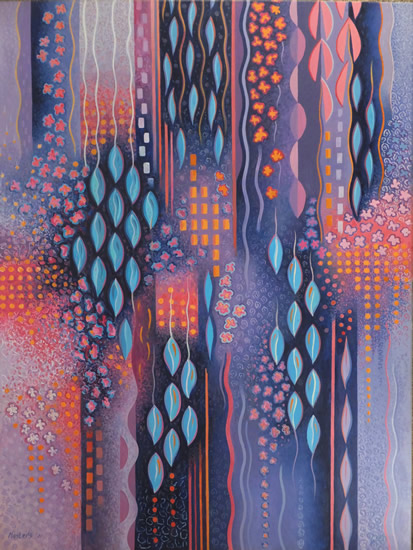 Contemporary Art - Hanging Garden - Fred Masters - Abstract Artist - Painting in Acrylic - Surrey Art Gallery