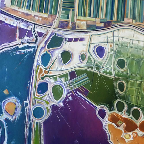 Contemporary Art - Lagoon Abstract Art - Surrey Artist Fred Masters Painting