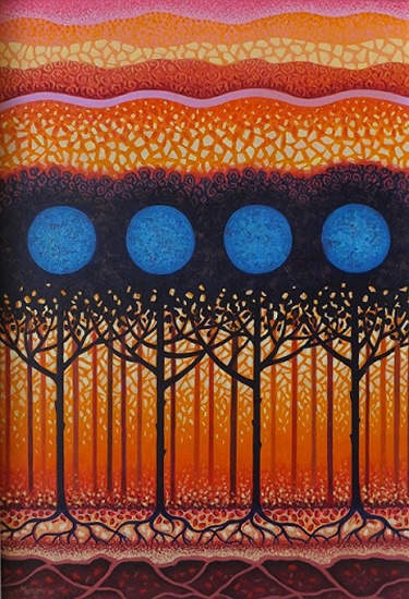 Contemporary Art - Orchard Blue - Fred Masters - Abstract Artist - Trees Painting in Acrylic - Surrey Art Gallery