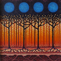 Contemporary Art – Orchard Blue – Fred Masters – Abstract Artist – Trees Painting in Acrylic – Surrey Art Gallery
