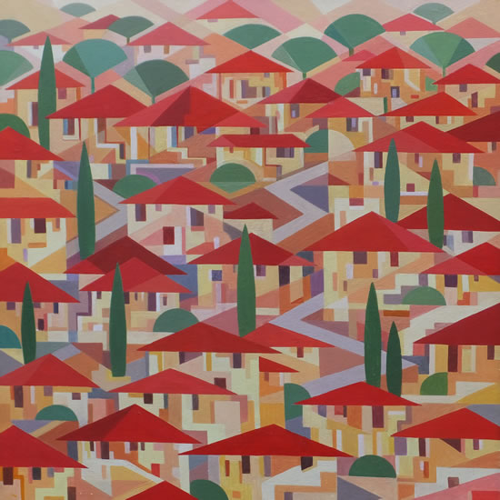 Contemporary Art - Town Houses Village - Fred Masters - Abstract Artist - Paintings in Acrylic and Oil - Surrey Art Gallery
